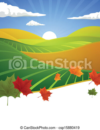 Vector Autumn Landscape - csp15880419