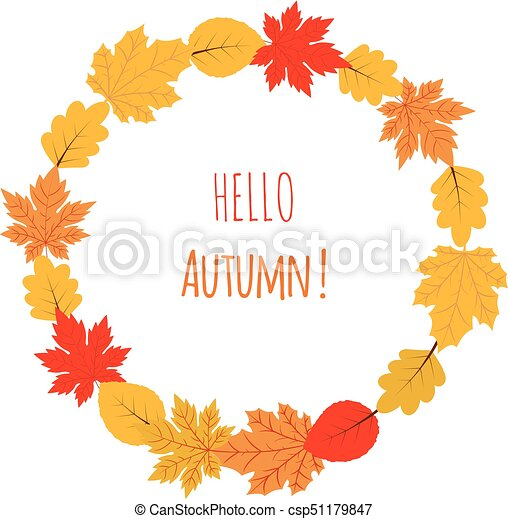 Vector autumn wreath with yellow and red leaves - csp51179847