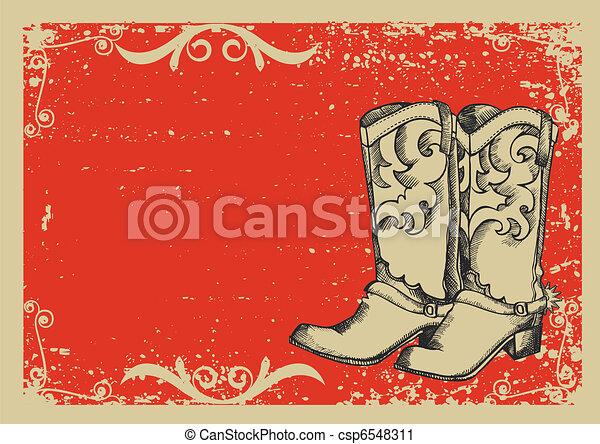 .vector, avbild, stövel, bakgrund, cowboy, grunge, grafisk, text