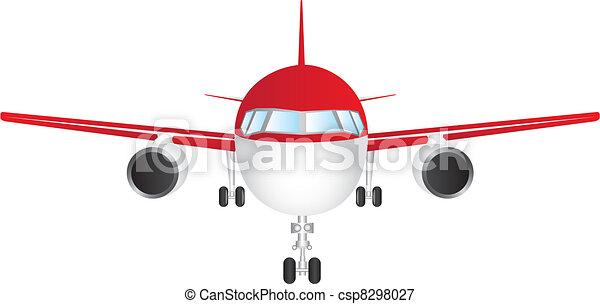 Ilustracin vectorial de vector avin  rojo y blanco frente