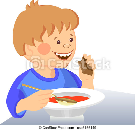 vector baby boy eats with a spoon from a bowl - csp6166149