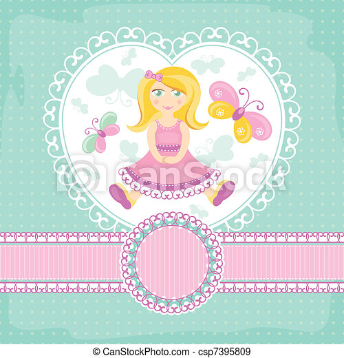 vector baby card with girl - csp7395809