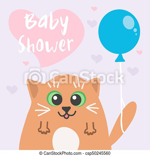 Vector baby shower invitation card with funny cute cat vector baby shower invitation card with funny cute cat filmwisefo