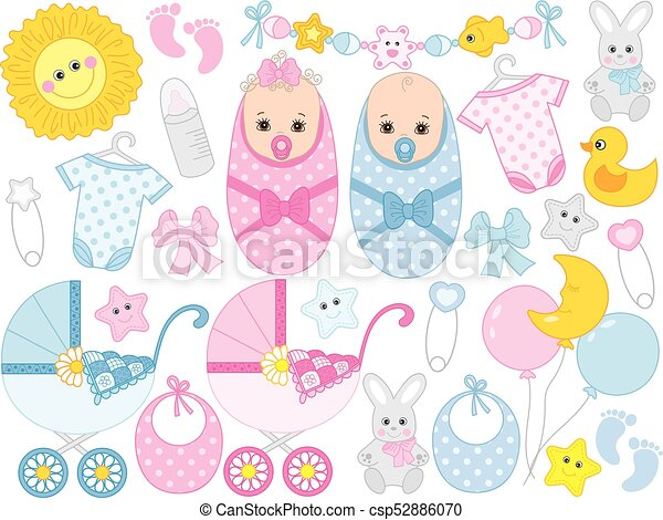 Vector Baby Shower Set With Cute Baby Boy Baby Girl Accessories And Toys Vector Baby Shower Set Set Includes Cute Twins