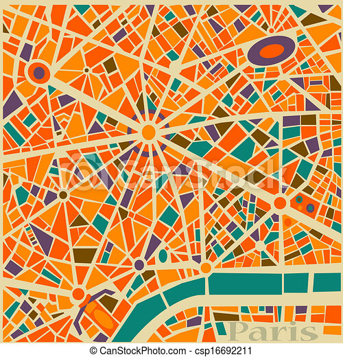 Vector Background Abstract Pattern Paris City Map Trendy Colors