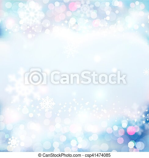 Vector background for Christmas and New Year. Bright, festive blue background with blur and snowflakes - csp41474085