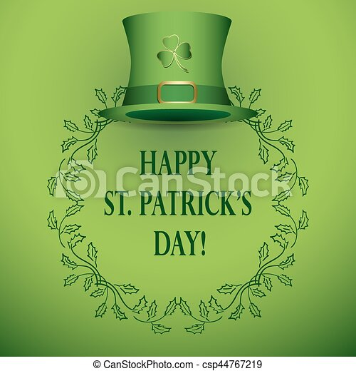 vector background for st patrick's day - with green hat - csp44767219