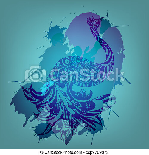 vector background with blue peacock and grungy splashes  - csp9709873