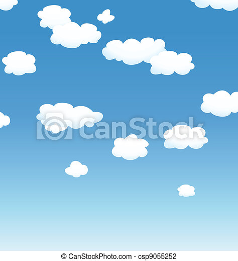 vector background with clouds in the sky  - csp9055252
