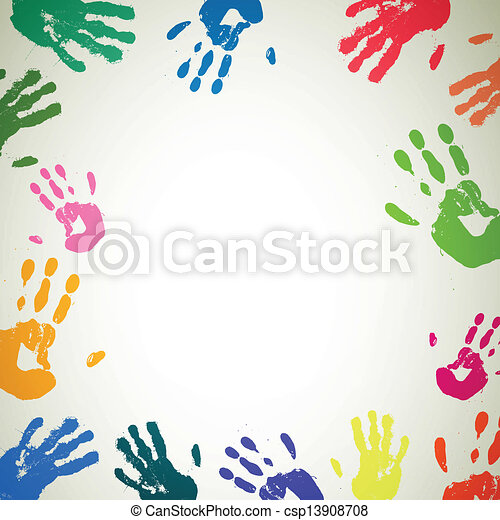 Vector Background with Colorful Handprints - csp13908708