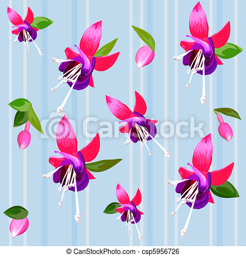 vector background with flower fuchsia - csp5956726