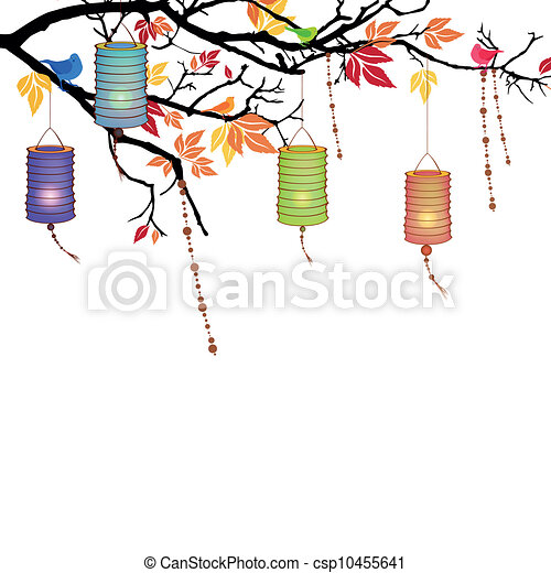 vector background with lanterns vector illustration of an autumnal