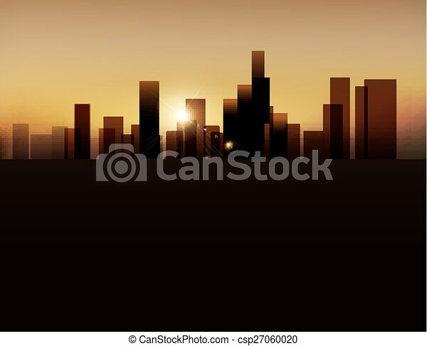 vector background with night city - csp27060020