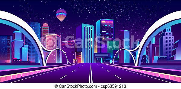 Vector background with night city in neon lights - csp63591213