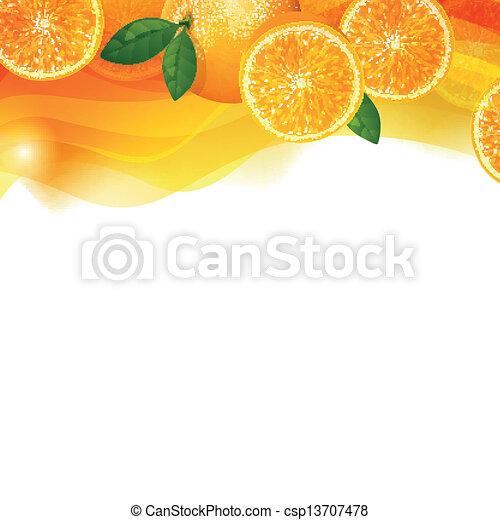 Vector Background with Orange Fruits - csp13707478