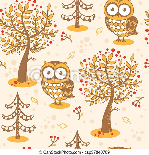 Vector background with owls. - csp37840789