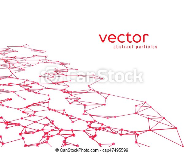 Vector background with red abstract particles. - csp47495599