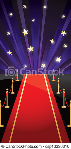 Vector background with red carpet and stars - csp13330810