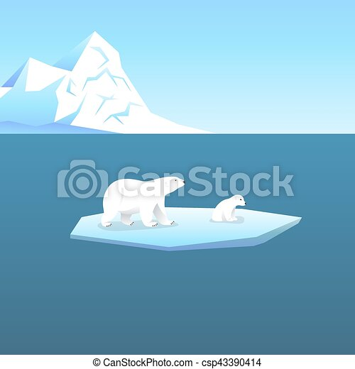 Vector background with two polar bears, she-bear and teddy bear standing on stylized glacier in the open sea. Cold climate. - csp43390414