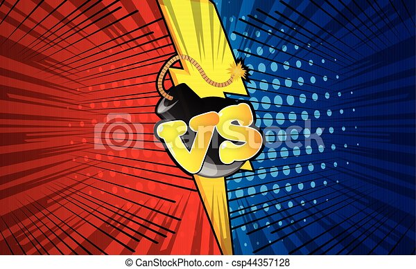 Vector background with versus letters in pop art style. - csp44357128
