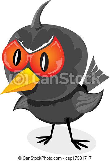 vector bad angry black raven bird. - csp17331717