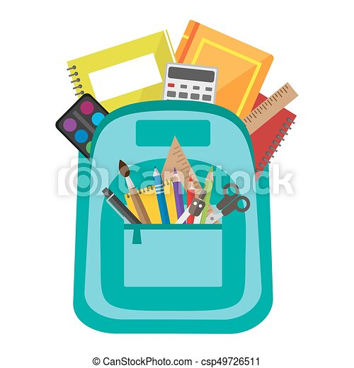 Vector bag with school stationery - csp49726511