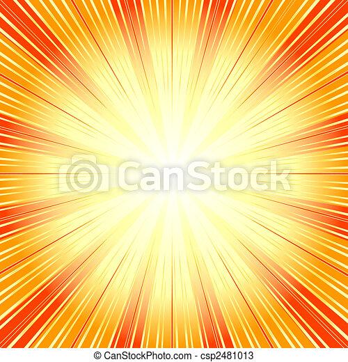 (vector), bakgrund, abstrakt, sunburst, apelsin - csp2481013