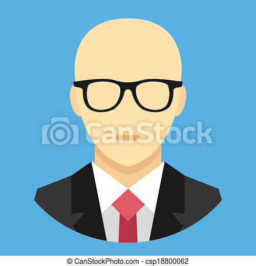Vector Bald Man in Business Suit Ic - csp18800062