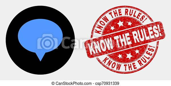 Vector Banner Balloon Icon and Distress Know the Rules! Stamp - csp70931339