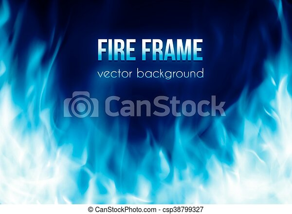 Vector banner with blue color burning fire frame - csp38799327