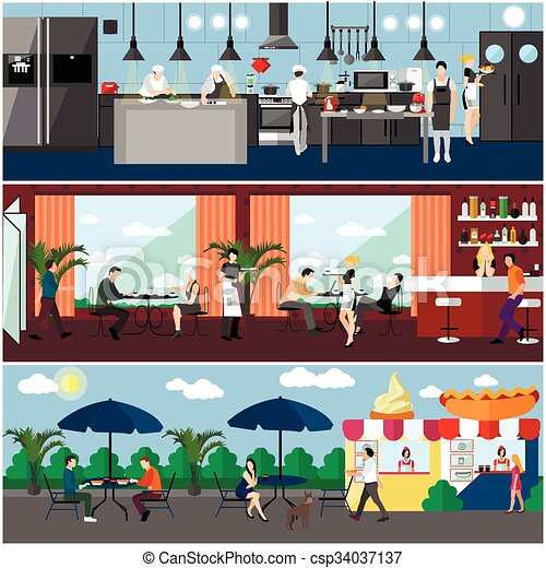 Vector Banner With Restaurant Interiors Kitchen Dining Room And Street Cafe Illustration In Flat