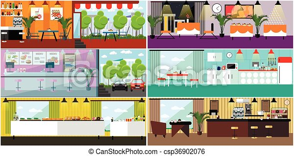 Vector Banner With Restaurant Interiors. Kitchen, Dining Room, Cafe, Fast  Food. Illustration In Flat
