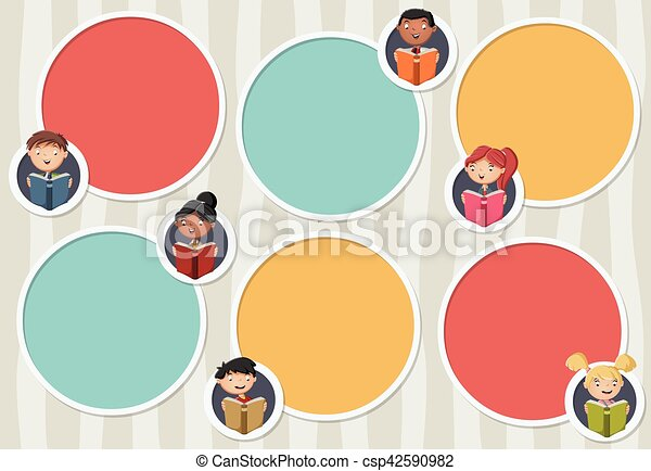 Vector Banners Backgrounds With Cartoon Family Circle Frames For Text Infographic Template Design Balls