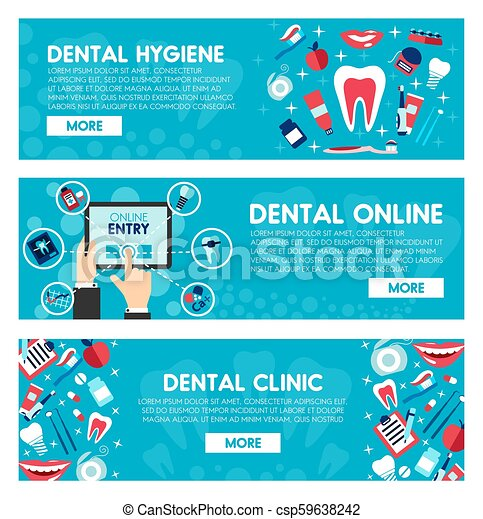 Vector banners of dental medicine and dentistry