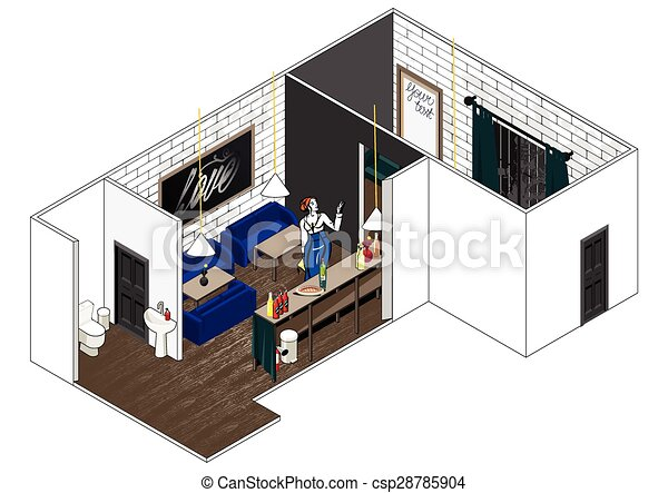 vector bar interior cut vector isometric cut of a house stylish rh canstockphoto com restaurant kitchen schematics