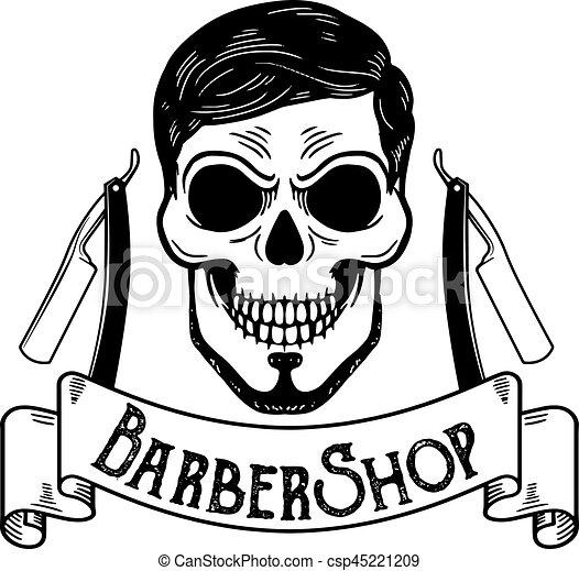 vector barbershop emblem barbershop logo or badge for vector rh canstockphoto com barbershop quartet clipart barber shop clipart black and white