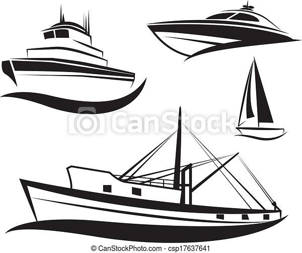 vector, barco, conjunto, negro, barco - csp17637641