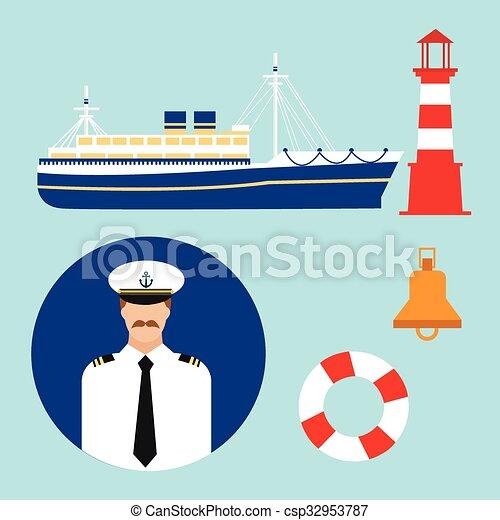 El capitán vector de crucero vector de barco icono marino mar marino náutico mar marino - csp32953787