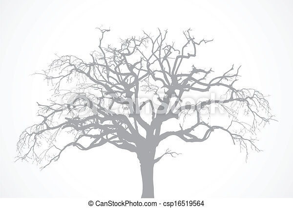 Vector bare old dry dead tree silhouette without leaf - oak crow - csp16519564