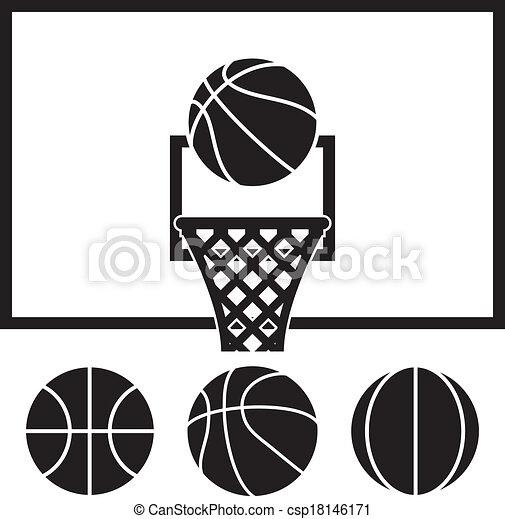 Vector Basketball Net Backboard Set And Basketball Balls Vector