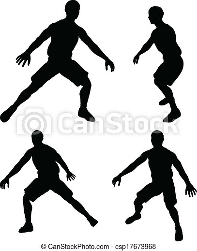 vector basketball players silhouette collection in defence position - csp17673968