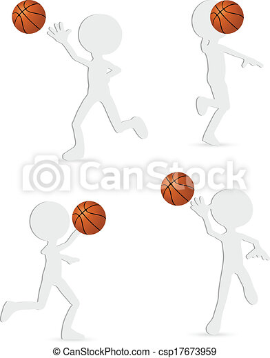 vector basketball players silhouette collection - csp17673959