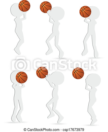 vector basketball players silhouette collection in shoot position - csp17673979