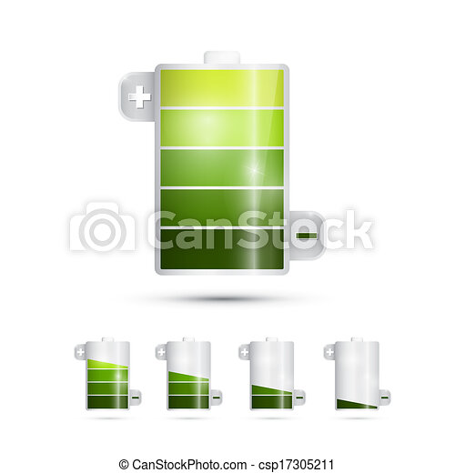 Vector Battery Life Symbols Isolated on White Background  - csp17305211
