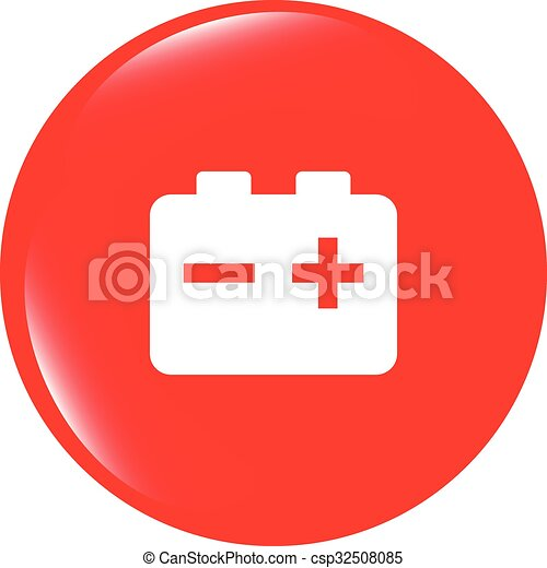 vector battery round web glossy icon button - csp32508085