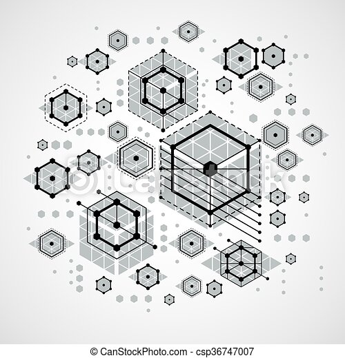 Vector Bauhaus abstract background made with grid and overlapping simple geometric elements, circles and striped honeycombs. Retro artwork, technology style graphic template for advertising poster. - csp36747007