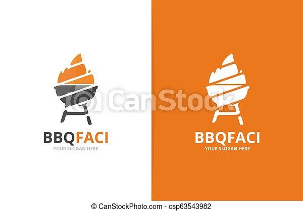 Vector bbq logo combination. Grill symbol or icon. Unique barbecue logotype design template. - csp63543982