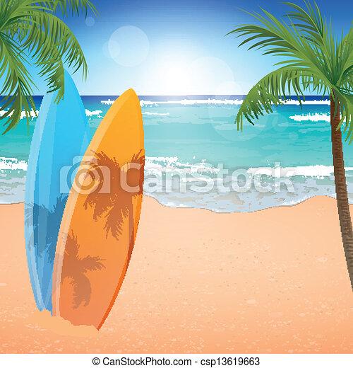 Vector Beach Background - csp13619663