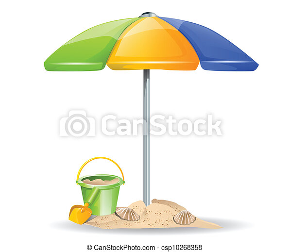 vector beach toys and umbrella clipart vector - search illustration
