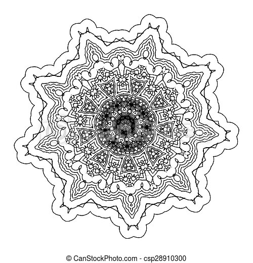 Vector Beautiful Deco Black Mandala - csp28910300